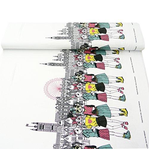 Jersey Stoff Stenzo Bordüre Digitaldruck Tierkopf Mädchen Skyline 1,50m Breite