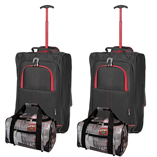 5 Cities , Trolley  Multicolore Black-Red / Cities 55 cm