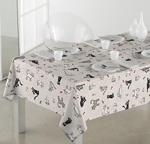 Sabanalia   Mantel de tela antimanchas Cats (disponible en varias medidas)   140 x 200