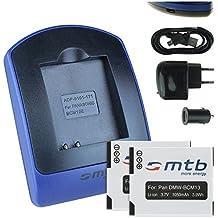 2 Baterìas + Cargador (USB/Coche/Corriente) DMW-BCM13 per Panasonic Lumix DMC-FT5, TS5, TZ37, TZ40, TZ41, ZS30