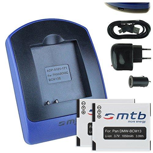 2 Akkus + Ladegerät (Netz+Kfz+USB) für Panasonic DMW-BCM13 / Lumix DMC-FT5, TS5, TZ37, TZ40, TZ60, TZ70, TZ71, ZS30, ZS40.. - s. Liste