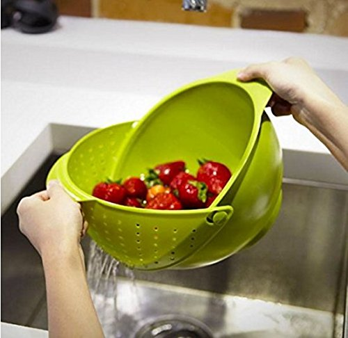 Innovative Rinse Bowl and Strainer in One (Multicolor), Plastic wash...