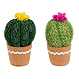 Set de dos elementos decorativos, cactus tejidos, regalo ideal