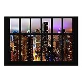 Vliestapete–Fenster New York Moonlight–Wandbild Landschaft Format Tapete Wand Wandbild Foto Funktion 3D Tapete wall-art Tapete Wandmalereien Schlafzimmer Wohnzimmer Dimension HxB: 225cm x 336cm