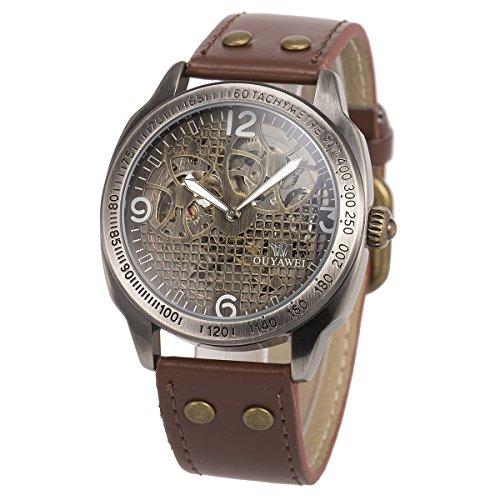 ManChDa Herren Armbanduhr Braun Lederband Vintage Gun Metall Fall Automatische mechanische Skelett Gold Grid Dial + Geschenkbox