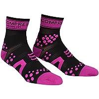 Compressport Pro Racing V2 Run Hi - Calcetines para hombre, color negro/rosa, talla M