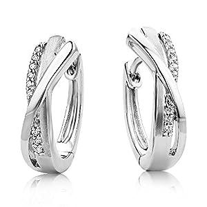 Miore Damen Creolen – Stilvolle Ring-Ohrringe aus 925 Sterling Silber mit 18 farblosen Zirkonia-Steinen – Creolen 4,5 x 16 mm