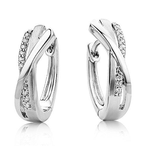 Miore Damen Creolen - Stilvolle Ring-Ohrringe aus 925 Sterling Silber mit 18 farblosen Zirkonia-Steinen - Creolen 4,5 x 16 mm