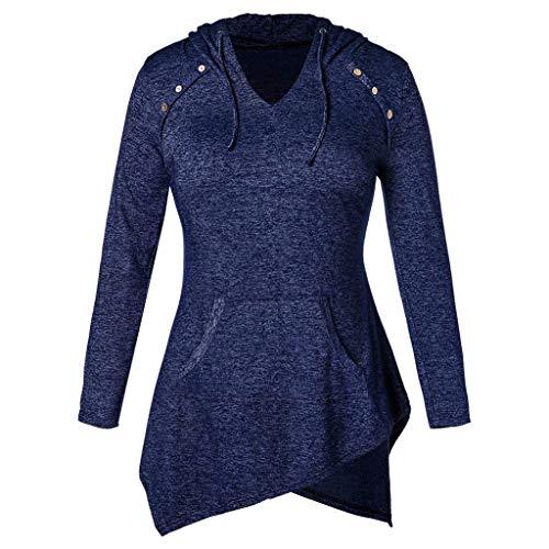 VJGOAL Damen Pullover, Bluse Damen Elegant Frauen Langarm Solide Taschen Sweatshirt Mit Kapuze Pullover Tops Hemd(Blau,38)