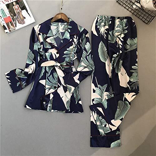 Classic Satin Pyjama Set (BEITAI Damen Classic Satin Pyjama Set Nachtwäsche Loungewear (Grün) (Color : Blue, Size : M))