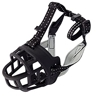 LA VIE Silicone Basket Cage Dog Muzzle Soft and Comfortable Anti-biting Barking Mouth Cover Adjustable Strap Safety Dog Muzzle with a Dog ID Tag 4 Sizes Black LA VIE Silicone Basket Cage Dog Muzzle Soft and Comfortable Anti-biting Barking Mouth Cover Adjustable Strap Safety Dog Muzzle with a Dog ID Tag Size 01 51l29au6 2BbL
