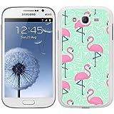 Funda carcasa TPU Gel para Samsung Galaxy Grand NEO Plus diseño estampado flamencos rosas fondo verde borde blanco