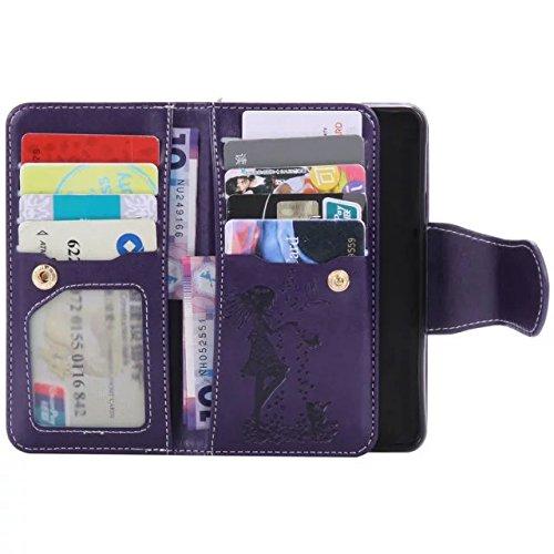 Wkae Case Cover Pressing Fleurs fille et chat en relief motif Flip Stand cas couvrir avec miroir miroir 9 Card Cash Slots pour Samsung A310 A3 (2016) ( Color : 9 , Size : Samsung A310 A3 (2016) ) 5