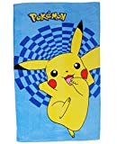 Pokémon Pikachu - Badetuch - 70 cm * 120 cm / Strandtuch Handtuch - 100 % Baumwolle - für Jungen & Mädchen 70x120 - Kinder Badehandtuch - Pokemon Pokemoon - Pokemon Figur - Kinder
