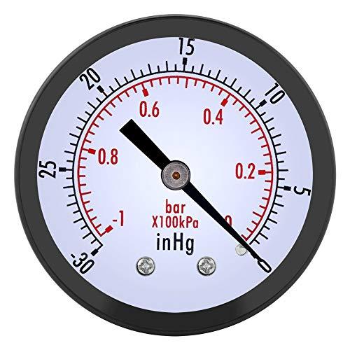 Delaman Unterdruckmanometer Mini Dial Luftdruckmanometer, 0 ~ -30inHg 0 ~ -1bar 50mm