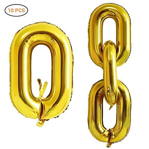 Surenhap 90er Jahre Party Dekoration Ballon Kette Ballons Form Luftballons für KTV Disko Party Geburtstag Erneuerung Valentinstag Dekoration(Gold)