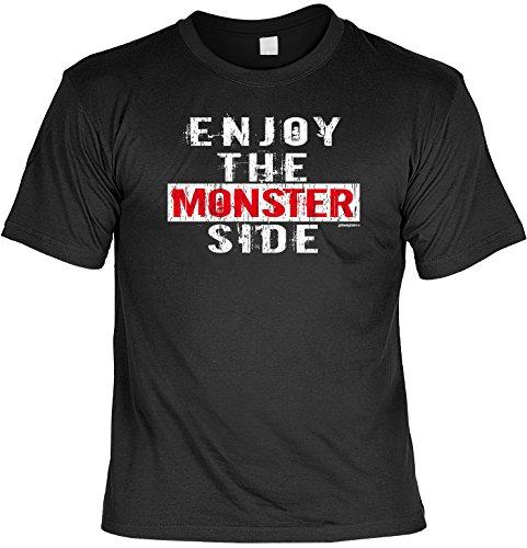 Halloween Grusel T-Shirt - Enjoy the Monster Side! Halloween Kostüm Schwarz