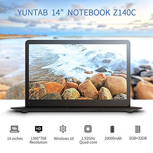 YUNTAB Z140C laptop Windows 10 Ultra slim Tablet 14 Zoll Intel Z8350 Quad-core 1.92 GHz 2 GB RAM 32 GB - 1366*768 Kamera 2 Mps Bluetooth 4.0 HDMI Mit Tastatur Holster einer Schwarz - 3
