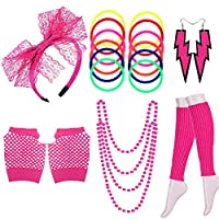 SULOLI 80s Party Fancy Dress Accessories - Neon Necklaces Bracelets Fishnet Gloves Leg Warmers Lace Bow Headband for Women Girls Ladies 80s Party Costume
