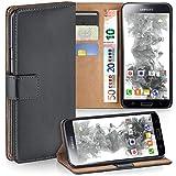 moex Samsung Galaxy S5 | Hülle Dunkel-Grau mit Karten-Fach 360° Book Klapp-Hülle Handytasche Kunst-Leder Handyhülle für Samsung Galaxy S5 / S5 Neo Case Flip Cover Schutzhülle Tasche