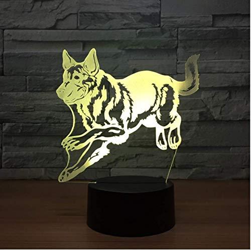 Wolf Hund Led 3D Lampe Kreative Note Dimmen Insert Induktor 3D Nachtlicht Weihnachtsschmuck Geschenk Für Babyzimmer Lichter -