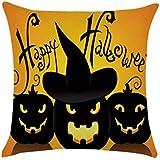 CeRui Funda de Almohada Noche de Halloween Feliz Halloween La Calabaza y el árbol Muerto