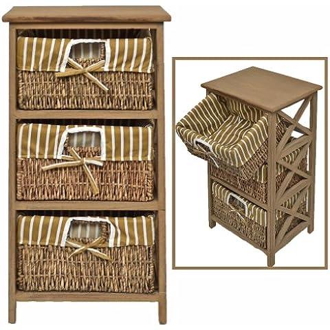 Landhaus cómoda mesa auxiliar estante de baño de color marrón estilo antiguo y de 3 cestas de