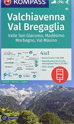 Carta escursionistica n. 92. Valchiavenna, Val Bregaglia 1:50.000 Ediz. italiana, tedesca e inglese: 4in1 Wanderkarte 1:50000 mit Aktiv Guide und ... in der KOMPASS-App. Fahrradfahren. Skitouren.