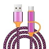 1M 2in1 Micro USB und USB Typ C Adapter Praktisches Nylon Datenübertragungs und Ladekabel (Hot Pink)