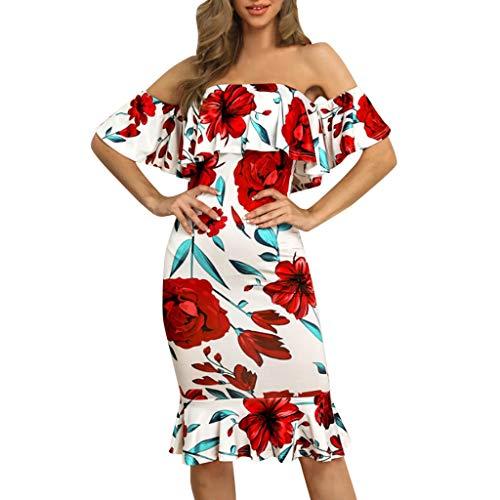 Sexy Schulterfreies Kleid für Damen, figurbetont, Vintage-Rüschen, Blumenmuster, ärmellos, schmale Passform, Clubwear, Urlaub, Abendparty, formeller Schrägausschnitt, rot, - Gangster Mini Kleid Kostüm