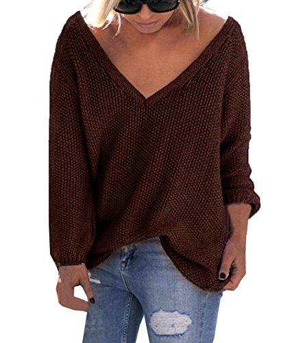 Lnverno Autunno Donna Maglione Moda Casual Sciolto Tops Eleganti Pullover a Manica Lunga V Scollo Maglie Sweatshirt Sweater Jumper Felpa Marrone