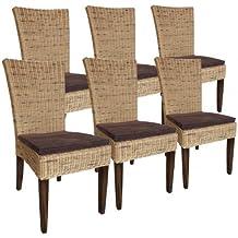 Rattan Stuhl SET Esszimmer Stuhl Cardine Basalt, 6 Stück Mit Sitzkissen  Prairie
