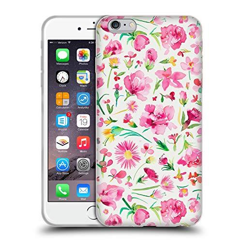 Head Case Designs Offizielle Ninola Rosafarbene Blume-Knospen Botanisch Soft Gel Hülle für iPhone 6 Plus/iPhone 6s Plus