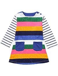 Vestito Manica Lunga Striscia Sciolto T-Shirt Vestito Bambina Abito Estivo  A Maniche Lunghe Bambina Stampa Floreale… b7887cbf5dd