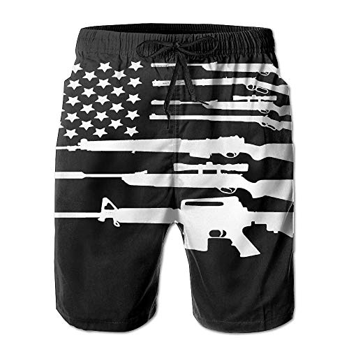 Pro-sun-pearl (Gun American Flag Men's Polyester Surf Board Beach Home Shorts Swim Quick Dry Medium)