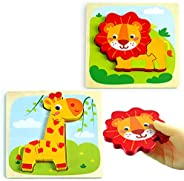 BEESTECH Wooden Puzzles for 1, 2, 3 Year Old Toddlers Boys Girls, Montessori Toys Animal Puzzles with Lion and