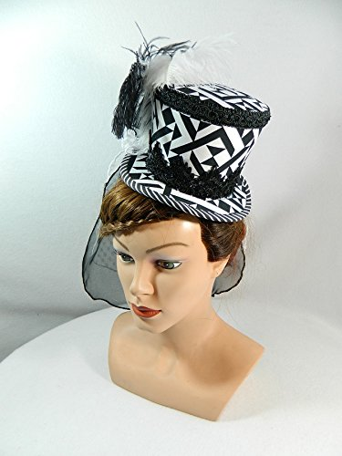 Midi Zylinder schwarz weiß Schleier Damenhut Fascinator Hut (Kostüm Der Schwarzen Witwe)