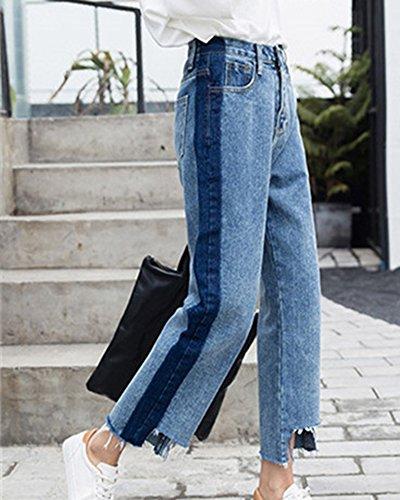 Donna Distruggere Jeans A Vita Alta Gamba Larga Pantaloni Boyfriend Azzurro Chiaro