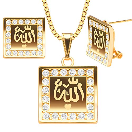 new-18k-gold-plated-classic-religion-chain-link-jewelry-muslim-allah-necklace-earrings-set-fashion-j