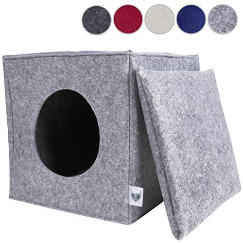 VIIRKUJA Filz Katzenhöhle inkl. Kissen Passend für z.B. IKEA Expedit & Kallax Regal | Extra Flauschiges Kissen | Besonders stabil und warm