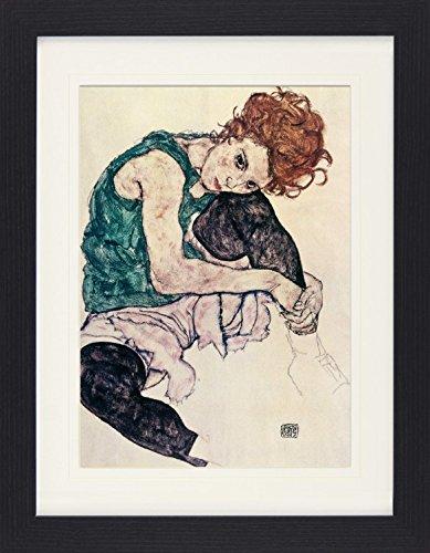 1art1 113638 Egon Schiele - Die Frau Des Künstlers, Sitzende Frau, 1917 Gerahmtes Poster Für Fans Und Sammler 40 x 30 cm