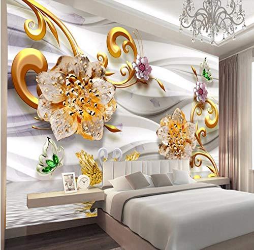 Rureng Goldschmuck Des Luxusgoldes 3D Blüht Europäisch-Artige Schmuck Fernsehhintergrundwandgewohnheit Große Wandgemälde Grüne Seidentapete-400X280Cm