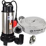 Agora-Tec® AT- Baupumpe-C 1300W (mit Schneidwerk) Tauchpumpe für Schmutzwasser, Abwasser, für Fäkalien und organische Feststoffe mit Schwimmerschalter und max: 1,05 bar und max: 17500l/h inklusive C - STORZ Kupplung und (C-Schlauch: 20 Meter)