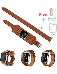 3 In 1 Apple Watch Leather Cuff Band,Eoso [Bracelet/Single/Double] Leather Loop Band For Apple Watch,Sport,Edition...