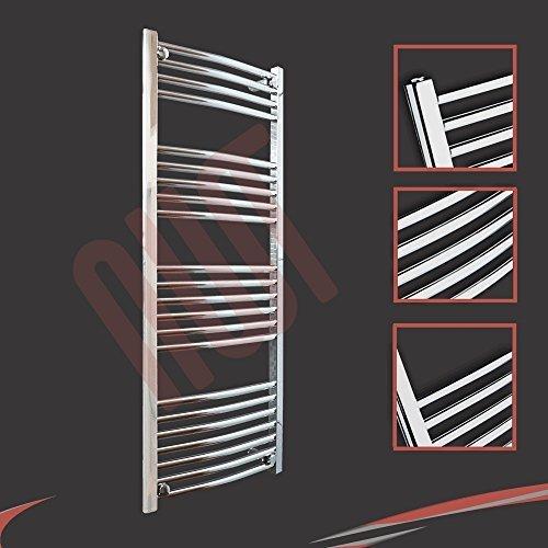500mm (w) x 1200mm (h) - Radiateur sèche-serviettes incurvé chromé Barre Horizontale Diamètre: 22mm, Bar Modèle: 4 + 5 + 6 + 7