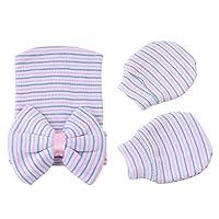 Newborn Baby Girls Boy Soft Bow Beanie Hat & Mitten Gloves Infant Nursery Hat (Stripe)