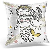 Funda de almohada para el pelo, diseño de sirena con texto en inglés