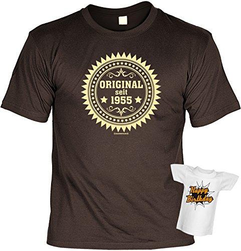 Geschenk zum Geburtstag - Fun T-Shirt - Original seit 1955 - Im SET mit gratis Mini T-Shirt Braun