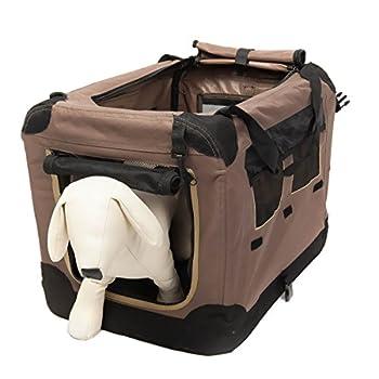 Favorite Box de transport pour animaux, chiens et chats, 51 x 36 x 33 cm, apte pour l'avion, cage flexible et en filet en mailles, inclut un sac de transport, Marron