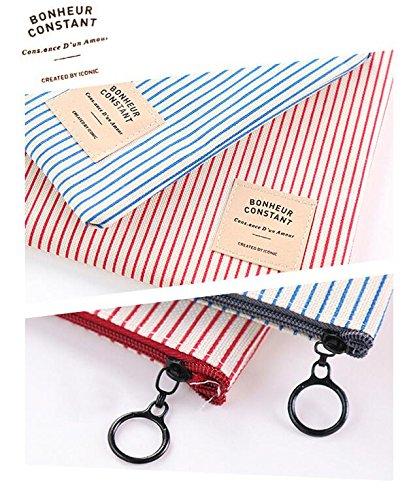 collection Bonheur sacchetto di trucco Strisce blu Astuccio per matite NOVAGO 2 Pack